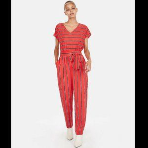 Express Red Striped Jumpsuit S